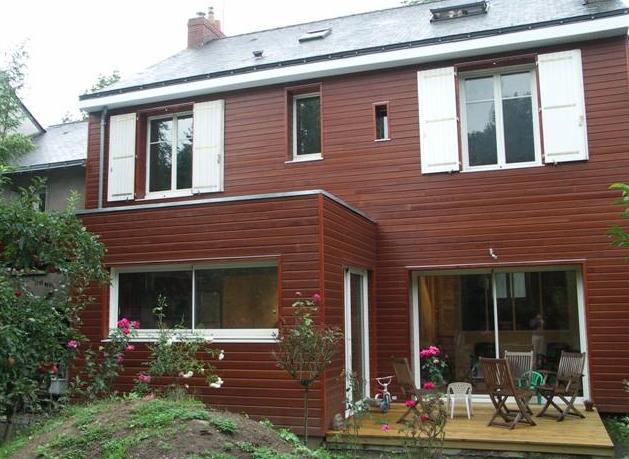 Extension et bardage bois d'une maison à Nantes
